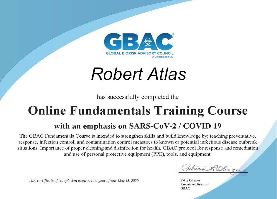 New Certification with an emphasis on SARS-CoV-2/COVID 19